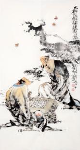 李傅宇(当代书画名人)纹枰论道图