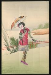 民手繪郵票剪畫中國撐傘女人在花園裏散步手繪明信片新一件