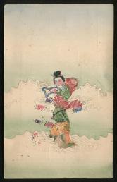 民手繪郵票剪畫中國古代仙女彈古箏手繪明信片新一件