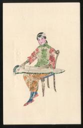 民手繪郵票剪畫中國民國女人彈古箏手繪明信片新一件