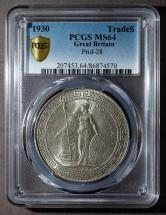 1930年英國站洋26.96克銀幣一枚(PCGS MS64)