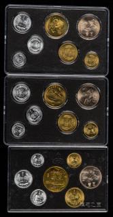 1985年长城币壹圆、伍角、壹角、中国硬币伍分、贰分、壹分各三枚,共18枚(带章、带盒)