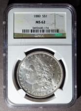 1880年美国摩根26.73克银币一枚(NGC MS62)