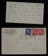 清代美国寄上海封一件、贴美国票三枚、销美国戳、有上海邮政局落戳