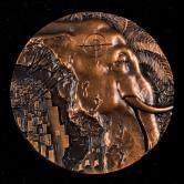 """2013年上海造币有限公司""""野生救援系列之大象""""大铜章一枚(直径:80mm、带盒、带证书)"""