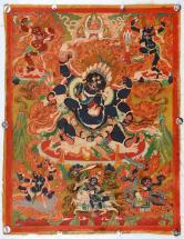藏传彩绘《六臂玛哈嘎拉》精品老唐卡