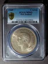1949年新西兰28.28克银币一枚(PCGS MS63)