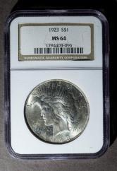 1923年美国26.73克银币一枚(NGC MS64)