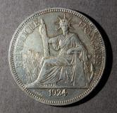1924年法属印度支那坐洋27克银币一枚