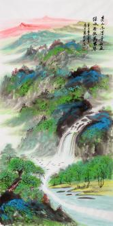 马大悲(中国美协)写意泼彩画绿水青山