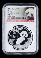 2020年熊猫30克普制银币一枚(首日发行、带包装、NGC MS70)