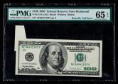 1996年美国100美元纸钞一枚(福耳、AE06441187C、PMG 65EPQ)