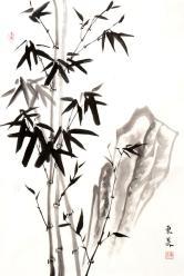 东美(新势力画家)竹石图