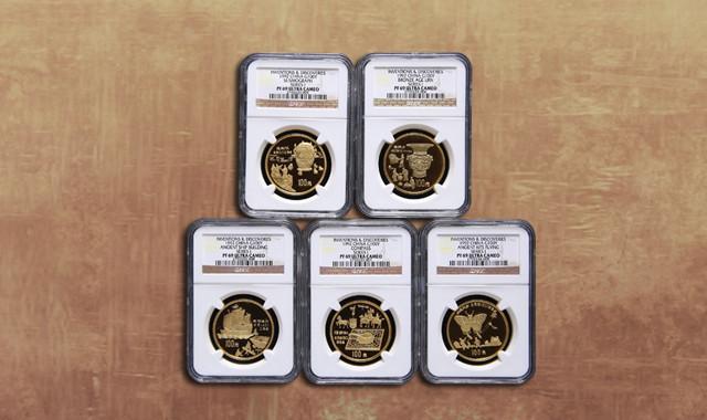 钱币类_1992年中国古代科技发明发现第(1)组1盎司精制金币五枚一套(发行量:1000套、原盒、带证书、NGC PF69)