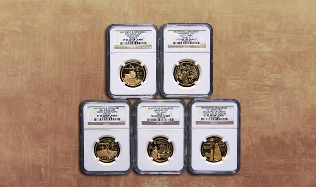 钱币类_1994年中国古代科技发明发现第(3)组1/2盎司精制金币五枚一套(发行量:1200套、原盒、带证书、NGC PF70、PF69)