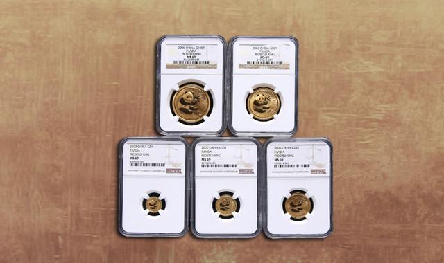 钱币类_2000年熊猫普制金币五枚一套(含1/20盎司、1/10盎司、1/4盎司、1/2盎司、1盎司、原盒、带证书、NGC MS69)