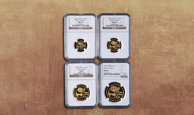 钱币类_1982年熊猫普制金币四枚一套(含1/10盎司、1/4盎司、1/2盎司、1盎司、NGC MS69)