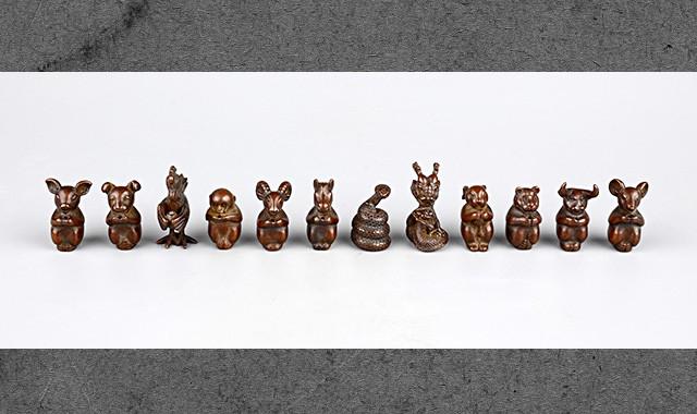 当代艺术_回流铜制十二生肖茶宠摆件