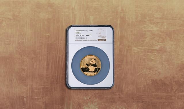 钱币类_2017年熊猫100克精制金币一枚(原盒、带证书、NGC PF69)