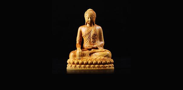 當代藝術_黃楊木雕供奉釋迦牟尼如來佛陀擺件