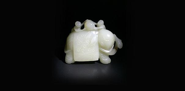 當代藝術_和田玉大象擺件 附證書