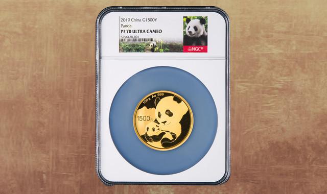 钱币类_2019年熊猫100克精制金币一枚(原盒、带证书、NGC PF70)