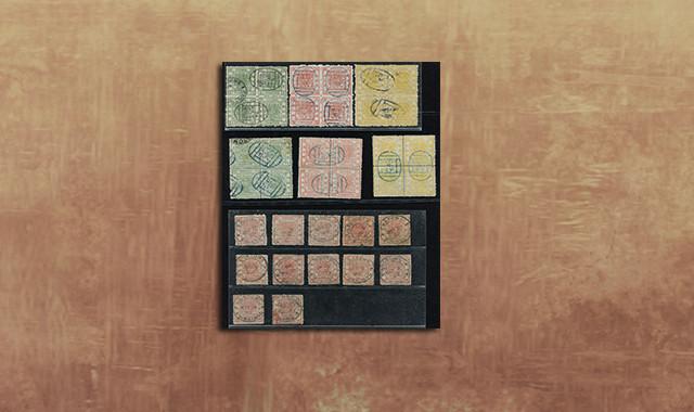 郵票類_清大龍一組新舊63枚(含大龍全套無齒樣票一套三枚,另1分、5分無齒樣票各一枚,大龍厚紙光齒四方連舊全,厚紙毛齒四方連舊全,大龍闊邊、及薄紙1分、3分舊共34枚,含各式郵戳)