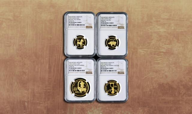 钱币类_1993年中国出土文物青铜器第(3)组精制金币四枚一套(含1盎司、1/2盎司、2*1/4盎司、带盒、NGC PF69、PF68)