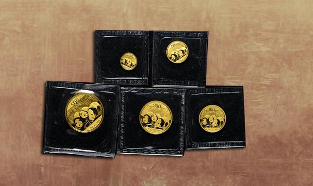 钱币类_2013年熊猫普制金币五枚一套(含1/20盎司、1/10盎司、1/4盎司、1/2盎司、1盎司、带盒、带收藏证书)