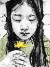 Ryou Jin-a 柳真婴(1980-)《女孩1 A Girl NO.1 with a yellow flower》
