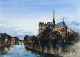 曾己议(1972-) 《巴黎塞纳河圣母院》(附框)