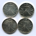 赵涌在线_钱币类_1989年、1990年、1992年、1993年美国鹰洋1盎司银币各一枚(带证书)